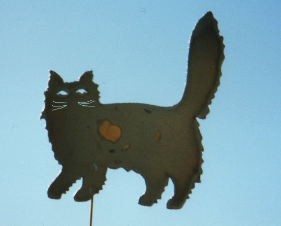 fluffy cat yard art